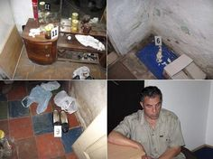 A combo photo of police handouts shows markers indicating evidence gathered from the summer  house (top L-R, bottom L) of Macedonian journalist Vlado Taneski, who was jailed on suspicion  of murder, in Kicevo June 22, 2008.