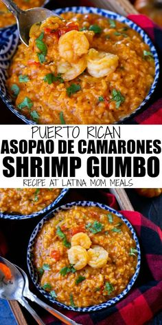 Puerto Rican Shrimp Stew Asopao De Camarones This Puerto Rican Arroz De Camarones Is A Shrimp And Rice Stew Aka Gumbo That The Whole Family Will Enjoy Shrimp Recipes, Fish Recipes, Mexican Food Recipes, Soup Recipes, Cooking Recipes, Healthy Recipes, Ethnic Recipes, Steak Recipes, Korean Shrimp Recipe