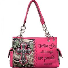 Concealed Carry Camo Print Rhinestone Cross Handbag W/ Bible Verse – Hay River Tack and Supplies