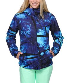 Keep your bases covered this season in the Aperture Girl Pow Pow 10K snowboard jacket. This Blue Galaxy print snow jacket from Aperture is built with a water resistant canvas exterior, light insulation and a brushed tricot interior to keep you warm and dr