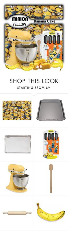 """Minion yellow Banana cake"" by pink1princess ❤ liked on Polyvore featuring interior, interiors, interior design, home, home decor, interior decorating, Zak! Designs, Farberware, Fox Run and Wilton"
