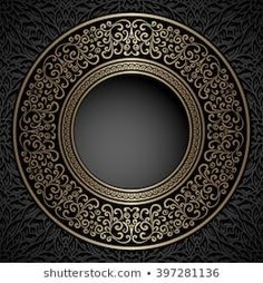 Illustration of Vintage background, gold ornamental label, round frame template vector art, clipart and stock vectors. Poster Background Design, Background Vintage, Background Patterns, Islamic Art Pattern, Pattern Art, Artwork Design, Art Deco Design, Mandala Design, Mandala Art