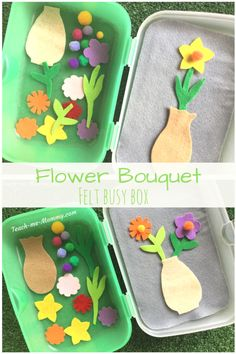 Flower Bouquet Busy Box - Teach Me Mommy Quiet Time Activities, Toddler Learning Activities, Spring Activities, Montessori Activities, Craft Activities For Kids, Preschool Activities, Crafts For Kids, Indoor Activities, Family Activities