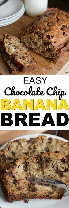 The best Chocolate Chip Banana Bread recipe. This easy to make, super moist banana bread recipe will be your go-to recipe anytime you have overripe bananas on your counter!  #bananbread #chocolatechip #banana #chocolatechipbananabread #chocolatechiprecipes #bananarecipes