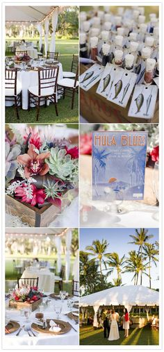 Classy Hawaiian wedding.  Yes! a tent with white. Candles or lights, smaller flower arrangements for the pop of color. soooo beautiful!