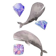 Day 8 of #the100dayproject - whales and gems #100daysofwhales .  .  .  I jus added this print tot my shop: society.com/tinavandijkart