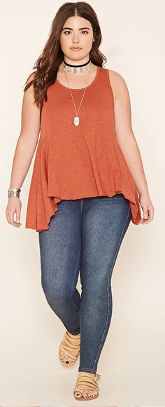 Plus Size Burnout Trapeze Top