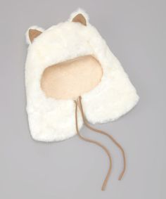 {White Snow Bear Trapper Hat} So cute! Little Girl Fashion, Kids Fashion, Childrens Crochet Hats, Trapper Hats, Animal Hats, Knitted Animals, Parisian Chic, Baby Hats, Kittens Cutest