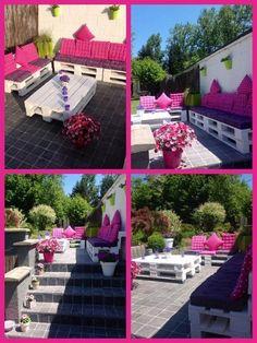 Salon de jardin en palette peintes en noir et coussins vert et ...
