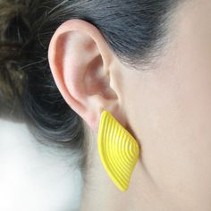 Polymer Yellow bow Earrings Plastic Earrings by PinguArtDesigns
