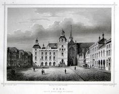 Goes-Groote Markt,Herkomst : J.L. Terwen - Het Koningrijk der Nederlanden, afm. 14 x 20 cm Staalgravure 1860