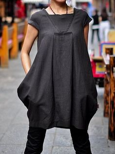 Hope/Women Clothing Plus Size Petite Maternity Day Party Prom Casual Handmade Blouse Summer Chic Linen Cotton Little Black Dress ALL SIZE on Etsy, $68.99
