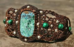 Shattuckite Malachite and Karen Silver in by AntheaMacrame on Etsy