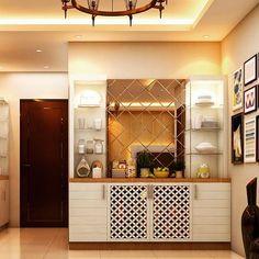 Check out our latest wall organisation cupboards. Villa Interior, Door Design Interior, Kitchen Interior, Room Interior, Interior Ideas, Crockery Cabinet, Crockery Units, Pooja Room Door Design, Room Partition Designs
