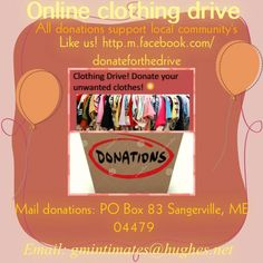 Donate clothes and intimates to help local community's your help is needed Make A Donation, How To Make, Clothes, Outfit, Clothing, Kleding, Cloths, Vestidos, Dresses