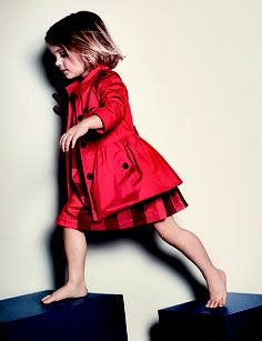 Cotton twill trench coat in bold orange red from the Burberry S/S13 Childrenswear collection