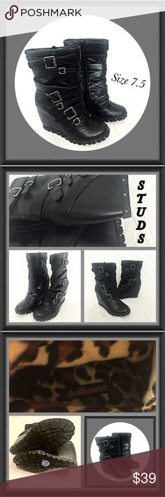 """Black Strappy Studded Wedge Boots Booties 7.5 Stunning Studded Strappy Wedge Boots are always a showstopper. Faux vegan black leather with silver hardware, side zip closure, approx 4"""" wedge heel. Even lined with faux leopard fur. WOW! Rubber bottom sole & lightly padded footbed. Size 7.5 in excellent worn once condition. Dollhouse Shoes"""