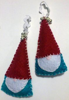 Festive Felt Goodness - extremely folksy/rustic/naïve tomte/nisse inspired yuletide ornaments with bells