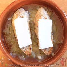 Receta saludable de SOPA DE CEBOLLA CASERA bajo en calorías y colesterol, apto para veganos y diabéticos (versión light). COCINA FÁCIL Y SANA. Incluye vídeo.