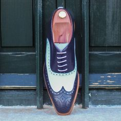 Men,s Handmade Two Tone Blue & White Real Leather Wing Tip Shoes, luxury Shoes - Dress/Formal