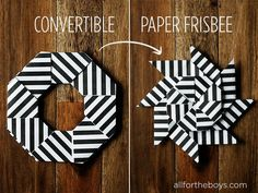 Convertible paper frisbee toy from All for the Boys blog