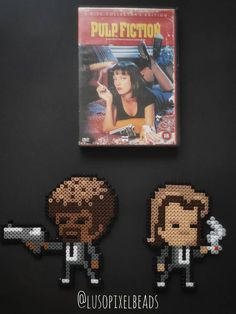 Pulp Fiction - Bead Art Fridge Magnet Tarantino Pulp Fiction, Pixel Beads, Display Resolution, Bead Art, Perler Beads, Clock, Wall Decor, Colours, Handmade Gifts