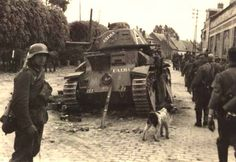 """This rare photo shows a destroyed French Renault Char D 2 tank, """"L'Alma"""" (the French army in WWII named their tanks after famous battles or French cities, regions, etc.). It was one of the few equipped with a long SA 35 tank gun shortly before the war. Photos of Char D 2s are often mislabelled as photos of Somua S35s, because they had the same type of turret (APX 1)..."""