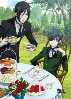 Black Butler Anime Wallscroll featuring Tea Time with Sebastian and Ciel #kuroshitsuji $13.99