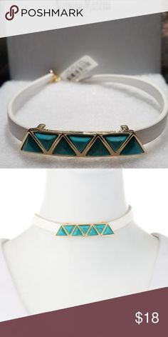 """Women's Faux Leather Turquoise Choker Fragments~Neiman Marcus~ station choker necklace. Polished yellow golden hardware. Slim white faux-leather (polyurethane) cord. Seven turquoise-hued triangle bezels. Lobster clasp with extender. Approx. 15""""L Fragments~Neiman Marcus Jewelry Necklaces"""