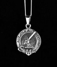 Gunn Clan Crest Sterling Silver Pendant (Necklace)