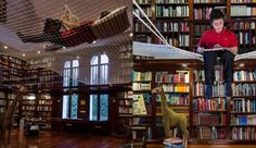 Amazing Home Libraries | Family has their multi-story library (!) fitted with a net to make ...
