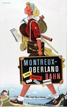 Vintage Switzerland Travel: Montreux - Oberland Bahn. #travel #switzerland #vintage