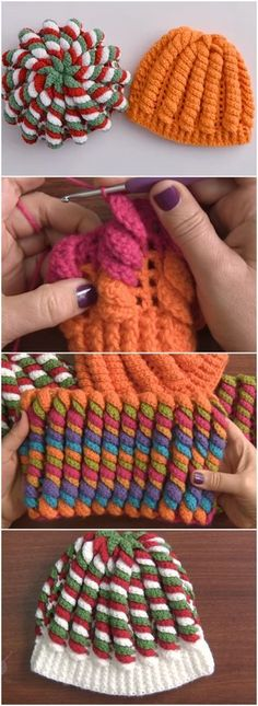 Would love to try this in candy-cane colors for my daughters Christmas Crochet Beanie Hat Serpentine Stitch Free Pattern [Video] Crochet Cap, Cute Crochet, Crochet Crafts, Yarn Crafts, Crochet Stitches, Crochet Projects, Crocheted Hats, Crochet Baby Mittens, Crochet Baby Beanie