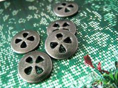 Metal Buttons - Melon Seeds Shape Hole Gunmetal Buttons , 4 Holes , 0.51 inch , 10 pcs