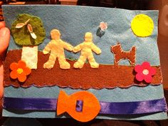 The fish moves along the ribbon. Great manipulative for a young child. Could be done as a craft using all paper and then a real ribbon for the fish to slide along on. All Play On Sunday: Baby Bible Book (Quiet Book)