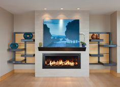 Mendota Fireplace Look Book: Get the Look: Modern Gas Stove Fireplace, Fireplace Stores, Linear Fireplace, Modern Fireplace, Living Room With Fireplace, Fireplace Design, My Living Room, Interior Design Living Room, Living Room Decor