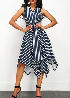 Stripe Print Asymmetric Hem Sleeveless V Neck Dress | Rosewe.com - USD $32.64
