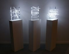 James Clar - A Moment Defined By A Point And A Line, 2010 (edition + 1 AP) arcylic and CCFLs (cold cathode fluorescent lamps) Light Art, Fluorescent Lamp, New Media Art, Light Installation, Acrylic Art, Clear Acrylic, Lighting Design, Lighting Ideas, Glass Art
