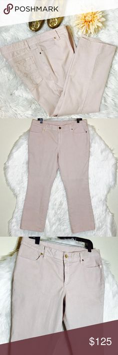 "Tory Burch Light Pink Cropped Jeans Blushed stretch denim shapes cropped skinny jeans with logo hardware and embroidery. inseam:26, rise:10, leg circumference: 16"". NWOT Tory Burch Jeans"