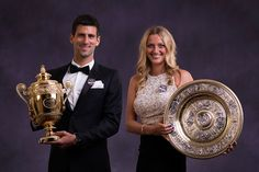 Novak Djokovic and Petra Kvitova pose for their official champions' portrait - Thomas Lovelock / AELTC