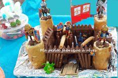 gâteau anniversaire château fort chevalier