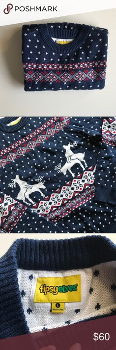 Adult Christmas Sweater Ugly Cute Tipsy Elves NWT sweater with reindeer print (adult content ) from Naughty Elves. Perfect for a ugly sweater party or as a gag gift. tipsy elves Sweaters Crewneck