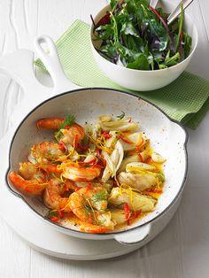 Garnelen-Fenchel-Pfanne mit Buttermilchsalat, ein sehr leckeres Rezept aus der Kategorie Snacks und kleine Gerichte. Bewertungen: 22. Durchschnitt: Ø 4,1.