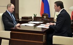 Vladimir Putin and Dmitry Patrushev meeting in Kremlin.