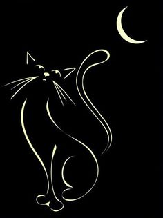 Elegant illustration of a cat, inspired by Lautrec and Art Deco illu… Cat & Moon. Elegant illustration of a cat, inspired by Lautrec and Art Deco illustrations. Art Deco Illustration, Moon Illustration, Cat Drawing, Painting & Drawing, Crazy Cat Lady, Crazy Cats, Moon Cartoon, Cat Tattoo, Tattoo Moon