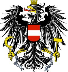 Coat of Arms Austria. The current coat of arms of Austria has been in use by the Republic of Austria since 1919. Between 1934 and the 1938 Austria used a different coat of arms. It had a double-headed eagle. In 1945 the original coat of arms returned, with broken chains added to show Austria's freedom. (V)