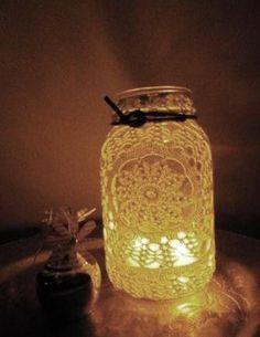 Glass mason  jar lamp Vintage crochet doily by thebrowneyedsuzy, $19.99