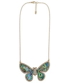 Rhinestoned Iridescent Butterfly Necklace   FOREVER21 - 1000047195