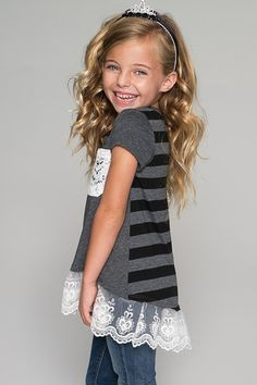 Gorgeous Trendy Hi-Lo Top with Lace Trim