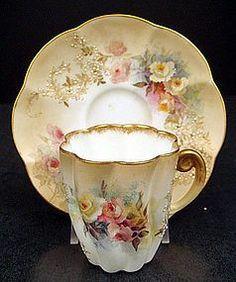 Antique Doulton Burslem Demitasse Cup  Saucer:
